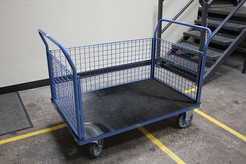 Platform truck complete with protective rubber mat flooring