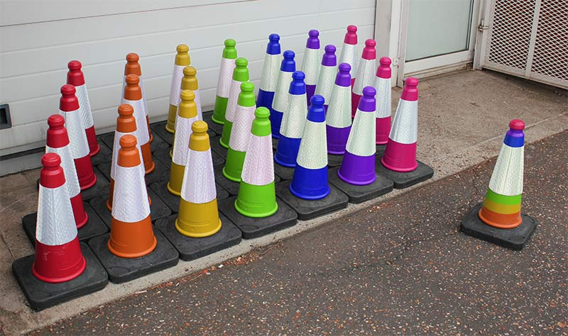 A colourful array of traffic cones created for Pride