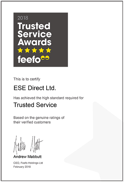 ESE Direct, Feefo Trusted Service Awards Certificate