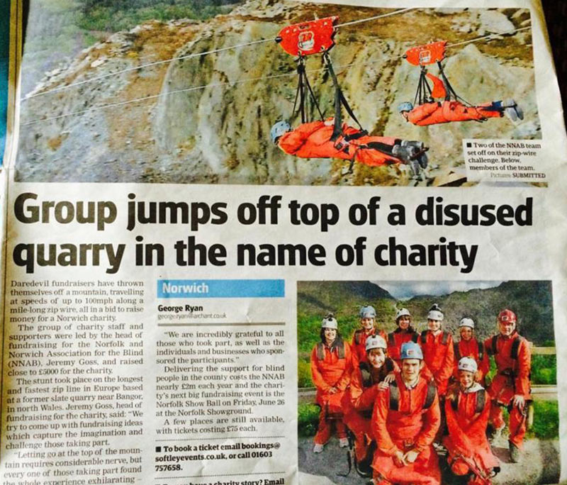 An article in a local newspaper about the Zip Wire Challenge