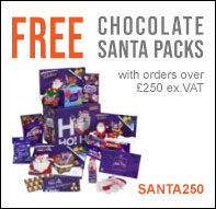 FREE Chocolate Santa Packs with orders over £250 ex.VAT with offer code SANTA250