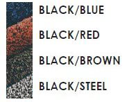 Black, Blue, Red, Brown, Steel