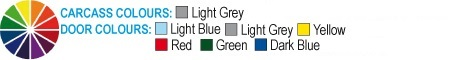 Dark Blue, Light Grey, Yellow, Red, Green, Light Blue