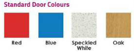 Red, Blue, Speckled White, Oak