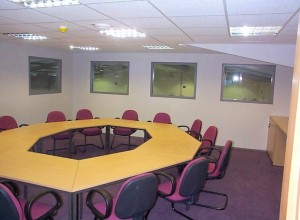 Conference room on top of mezzanine