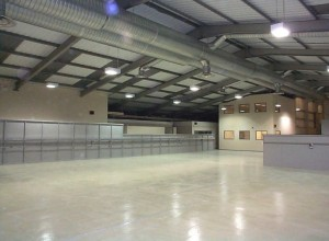 Production area with steel partitioning and jumbo stud fire separation wall