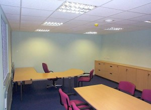 Office fully dry-lined with don suspended ceiling and vertical blinds