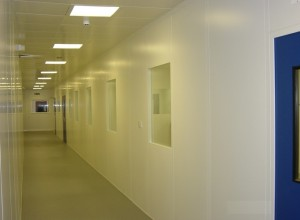 Cleanroom corridor with process observation windows