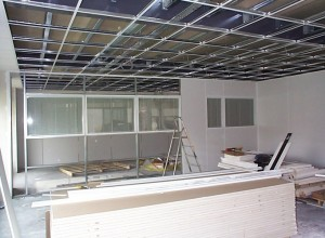 Suspended ceilings and maars styleline partitioning under construction