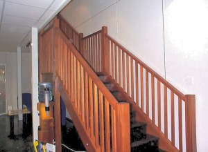 Bespoke hardwood staircase from reception to offices on mezzanine floor