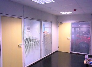 Ground floor reception using Maars Styleline partitioning with integral blinds
