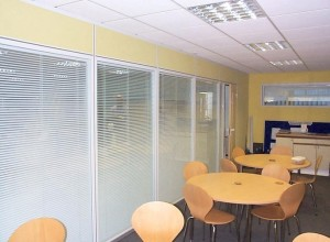 Canteen with full height double-glazed windows with integral blinds