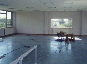 Raised computer floor and suspended ceiling under construction
