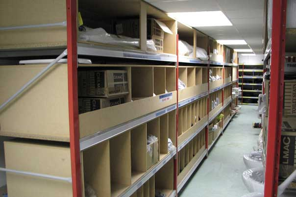 lonspan shelving with storage bins