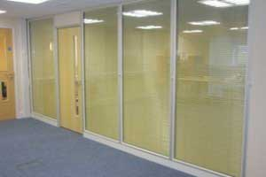 Full height glazed partitioning