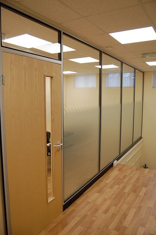 office corridor door glass. Choice Homes, Office Partition, Corridor With Half Opaque Glass Door