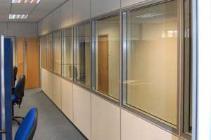 Office partitioning with glazed units