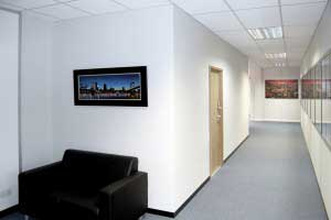 Office waiting area created with partitioning