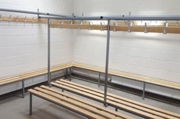 Cloakroom bench installation in golf club