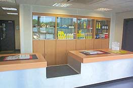 Trade Counter with glass display case