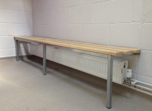 Versa Mono bench installed in golf club changing room