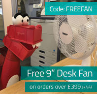FREE 9 inch desk fan on all orders over £399 ex.VAT.