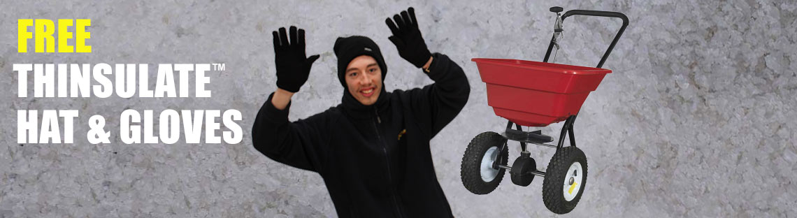FREE Thinsulate hat and gloves when you purchase Sealey 37kg Walk Behind Broadcast Salt Spreader