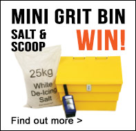 Enter draw to win a mini grit bin, salt and scoop when you spend £150+VAT. Offer code MINIGRIT