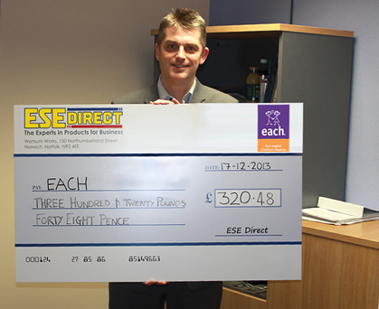 East Anglian Children's Hospice fundraiser Gary Cook receives cheque for £320.48