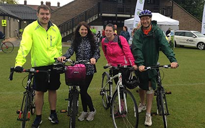 Nick, Debs, Kelly and Mike complete the Norwich 50 bike ride in aid of The British Heart Foundation