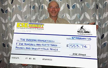The Budding Foundation founder Clive receives his cheque