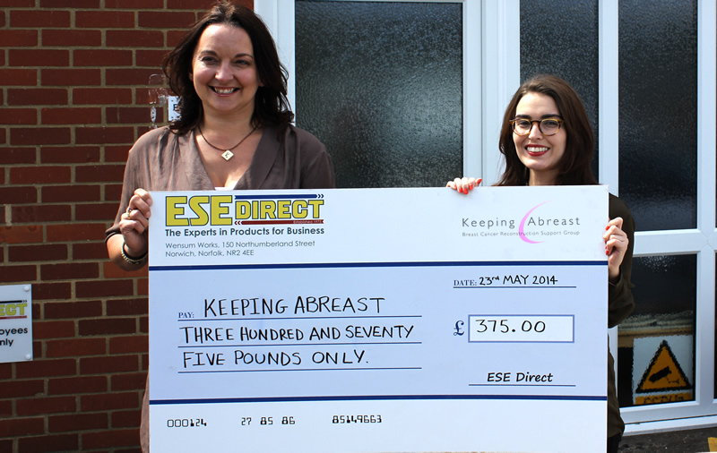 Keeping Abreast Development Manager, Victoria White receives cheque for £375
