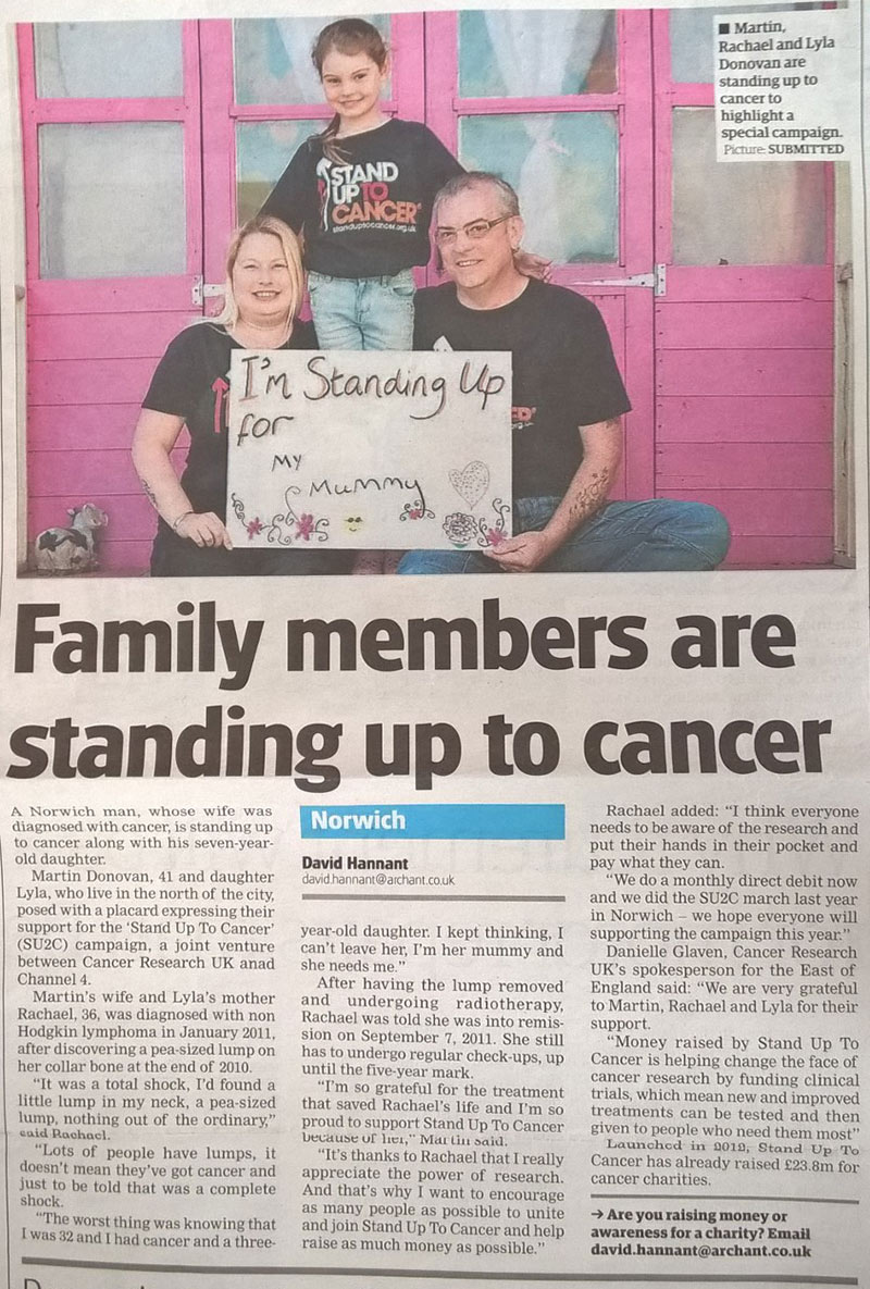 Martin, Rachael and Lyla Donovan Standing up to Cancer