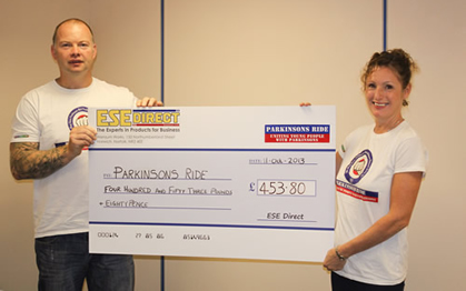 Parkinsons Ride Cheque Presentation