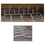 Universal Bike Storage Racks - Rail Mount With Alternate Ramps