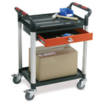 Utility Tray Trolleys with 2 Shelves with Drawer