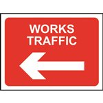 Works Traffic Left Road Sign