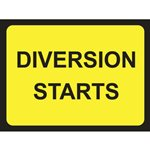 Diversion Starts Road Sign