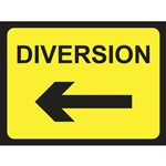 Diversion Road Sign Arrow Left