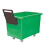 E392085 - green plastic storage truck with handle, 300 litre capacity