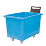 E392089 - light blue plastic storage truck with handle, 300 litre capacity