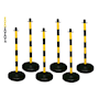 Barrier Kits -  6 Posts, 8mm Chain, Fillable base, Yellow/Black