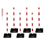 Barrier Kits -  6 Posts, 8mm Chain, Rubber base, Red/White