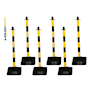 Barrier Kits -  6 Posts, 8mm Chain, Rubber base, Yellow/Black