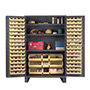 JC-137 - Jumbo storage cabinet with 137 hook on bins and 3 adjustable shelves