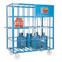 Mobile painted gas cylinder cage