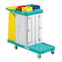 Lockable mobile cleaning trolley