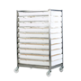 Stainless Steel Mobile Tray Rack with 10 Trays