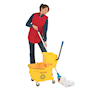 Mop Bucket Bundle. Bucket trolley, mop & replacement mop head