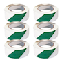 PVC Adhesive Hazard Warning Tape - Pack of 6 - Green & White